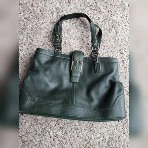 Coach hunter green on the go handbag